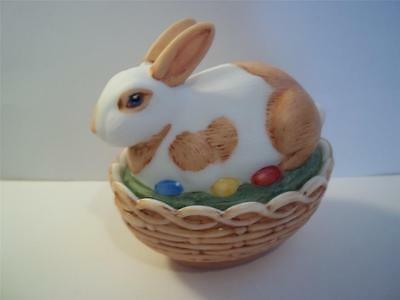 Mosser Glass NATURAL HP BROWN & WHITE EASTER BUNNY RABBIT Box Basket Candy Dish!