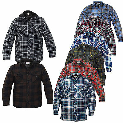Mens Padded Quilted Lined Lumberjack Check Winter Casual Workshirt and Jacket