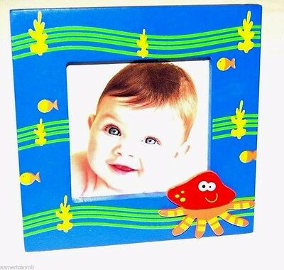 Baby Kids Photo Frame Wooden 4.25x4.25 Blue Sea Ocean Octopus Table Top Picture