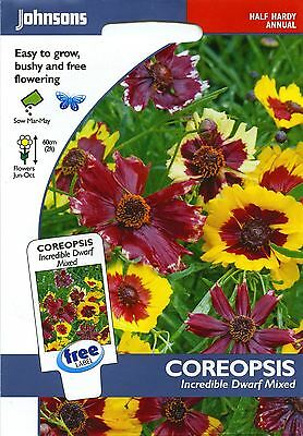Johnsons Pictorial Pack - Flower - Coreopsis Incredible Dwarf Mixed - 200 Seeds
