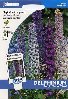Johnsons - Pictorial Pack - Flower - Delphinium Pacific Giants Mixed - 100 Seeds