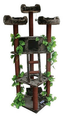 78' High Cat TreeTower Kitty Play House Large Brown Green Furniture Scratch Post