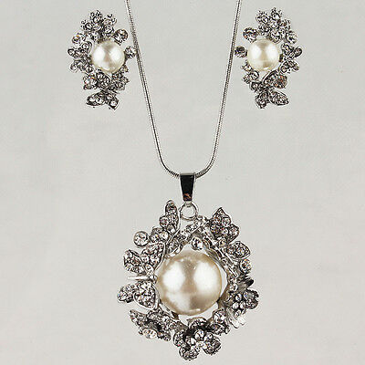 14k White Gold Filled Flower Pearl Austrian Crystal Necklace Earring Set GP2706