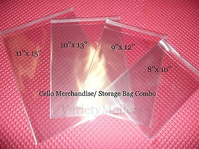 60 Cello Merchandise Bag Variety ~ 15 each 11x15 10x13 9x12 8x10 Self-Sealing