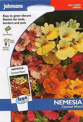 Johnsons Seeds - Pictorial Pack - Flower - Nemesia Carnival Mixed - 500 Seeds