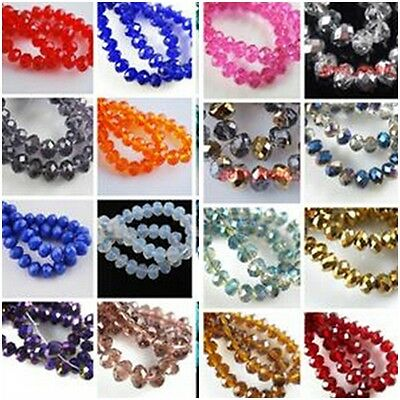 Wholesale 100pcs Lampwork Faceted Glass Loose Beads Spacer Rondelle Finding 4mm
