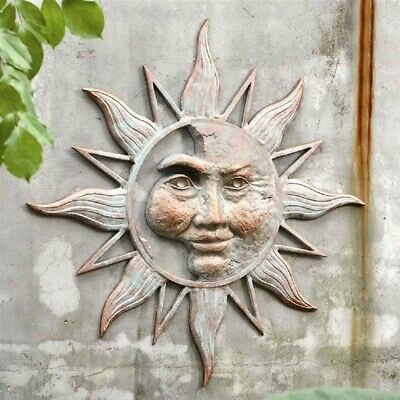 Half Face Sun Wall Art Plaque Metal Garden Hanging Indoor Outdoor Decor 33.5""