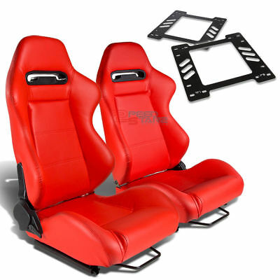 2X Type-R Red Pvc Reclinable Racing Seat+For 78-88 Monte Carlo A/g-Body Bracket