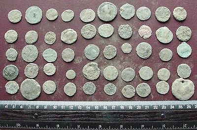 Lot of 50 Authentic Ancient Roman Coins   Mostly 3rd to 5th Centuries A.D. 12412