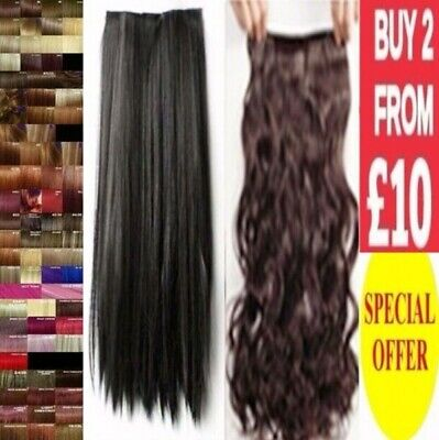 Half Head Hair Extension Curly Straight Clip in Feels like Human Long Black Plum