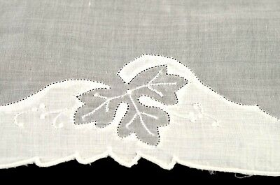 6 Vintage Madeira Applique Organdy & Linen Oak Leaf Placemats + Runner Nn15A