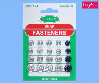 16pcs Silver Snap Fasteners In Assorted Size and 4 pcs Black Fastener KD30894