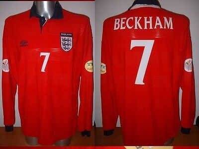 England Beckham XL L/S Shirt Jersey Football Soccer Umbro Man Utd World Cup