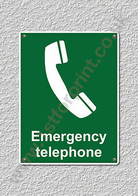 1 Emergency Telephone Health & Safety Metal Wall Sign A5 Printed High Quality