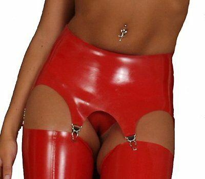 NEW Red Latex Rubber Female Suspender Belt (ENGLISH) S M L XL