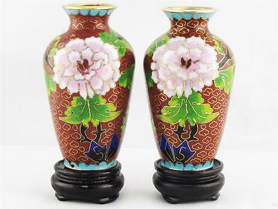 Beautiful Vintage Pair Of Miniature Chinese Red Cloisonne Flower Vases