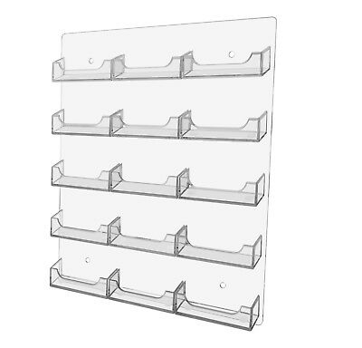 15 Pocket Business Card Holder Clear Acrylic Horizontal Wall Mount Hanging Rack