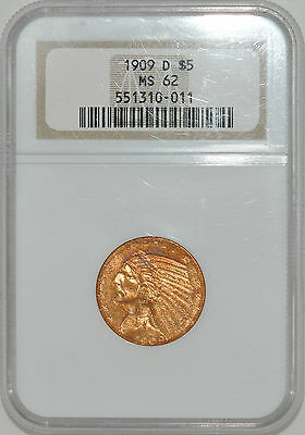 1909-D $5 INDIAN GOLD HALF EAGLE. *MS 62 by NGC* 551310-011