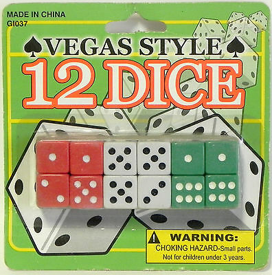 Vegas Style Dice 12 Pack Games Party New Free Shipping