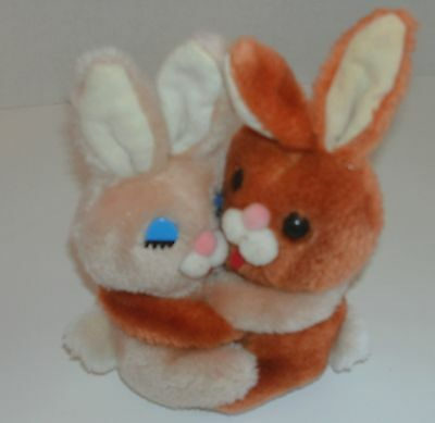 Vintage Easter Pets Hugging Bunnie Rabbits Plush Stuffed animal toy