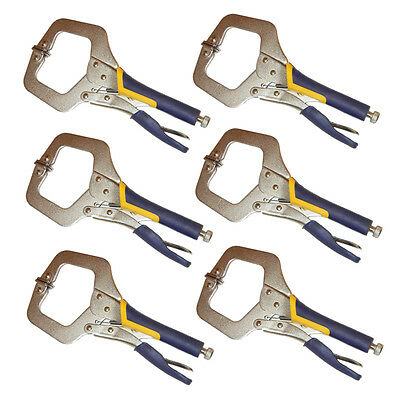 "6PC HEAVY DUTY 11"" C CLAMP, Extra Thick for High Strengtht Quality Locking Plier"