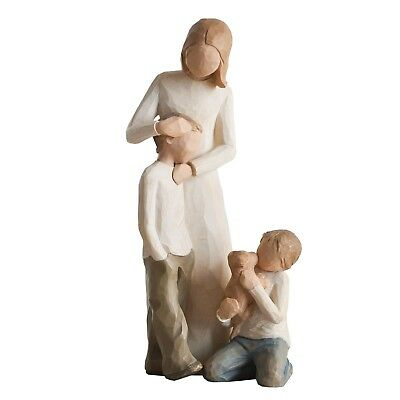 Willow Tree Mother with Two Sons & Puppy Figurine Set Family Group