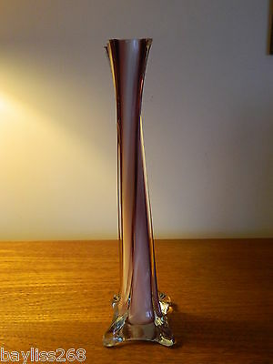 Lovely Tall Slim Vase with Twisted Shape Poss Murano Pinks and Clear