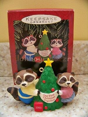 Hallmark 1993 Our First 1st Christmas Together Raccoon Ornament