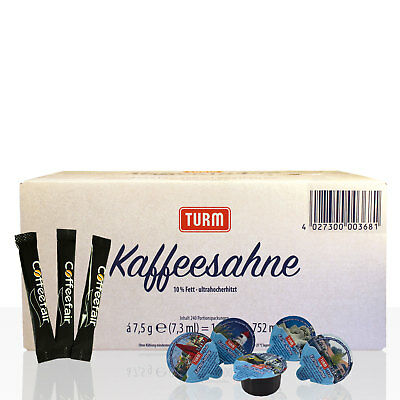 Kaffeesahne Turm 240 Stk & Coffeefair Zuckersticks 1000 x 4g