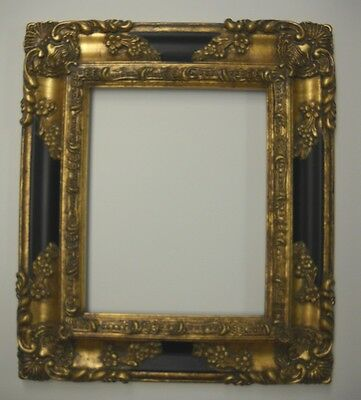 PICTURE FRAME- antique gold & black ORNATE- 8x10   #1238