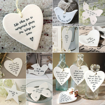 East Of India Hanging Porcelain Heart Star Bird Butterfly Gifts Sign Tags