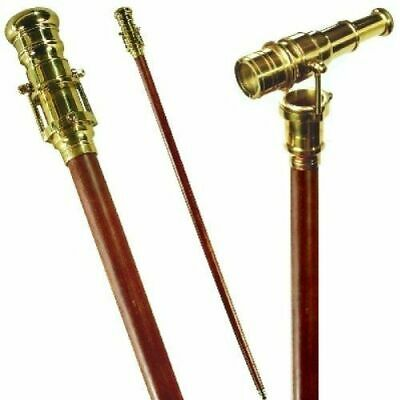 Walking Stick Cane with Solid Brass 16 inches Telescope, Solid Brass/Rosewood
