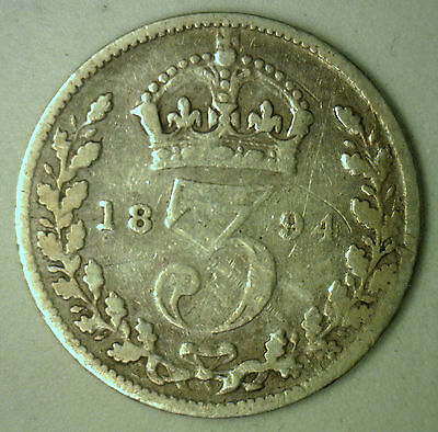 1894 Silver 3 Pence Great Britain UK English Coin YG-2