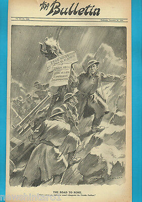 NORMAN LINDSAY POLITICAL CARTOON FROM THE BULLETIN  Nov 24, 1943, TO ROME
