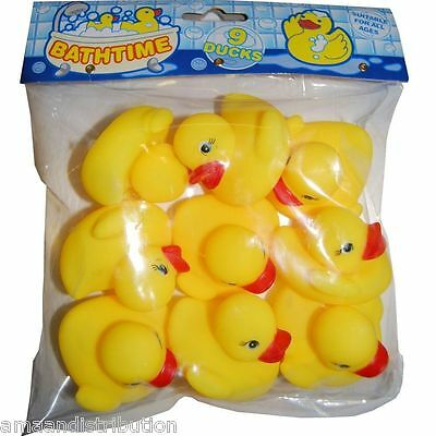 9 X Mini Yellow Bathtime Water Rubber Ducks Toy Water Play Goody Bag Filler