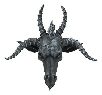 Baphomet Statue Figurine The Sabbatic Goat Wall Plaque Stonelike Finish Resin