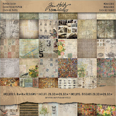 """Idea-ology Stash Paper Pad 8""""X8"""" 36pgs 2-Sided Menagerie by Tim Holtz"""