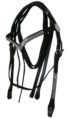 NEW COB Western Show Leather Bridle with V Shape Silver Browband & Split Reins