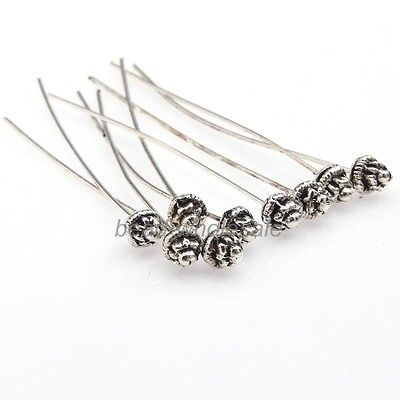 Hot Usable Korean Antique Silver Golden Tone Long Head Pins Finding 20 pcs