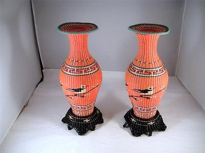 Pr. Mid Century Modern Asian Scoubidou Plastic Covered Wire Glass Vases 10 in.