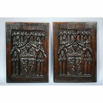 Pair Antique Carved Oak Architectural Salvaged Gothic Panels Heraldic Shields
