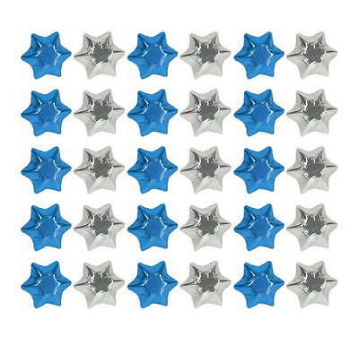 100 Silver And Blue Milk Chocolate Stars - Christmas Gifts Kids Parties Wedding