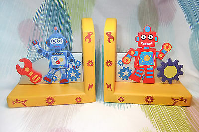 Kaper Kidz Colourful Wooden Orange Robot Bookend! Baby Children's Room Decor!