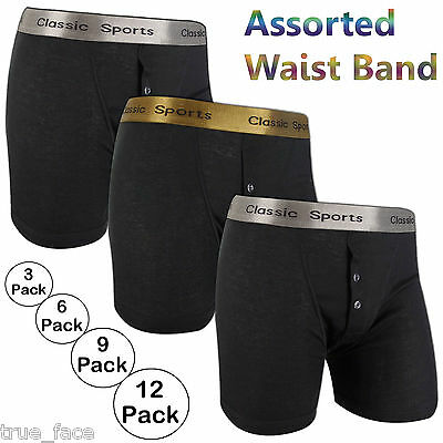 New Mens Classic Sports Gold Silver Rib Boxer Shorts 3-12 Pack Underwear Trunks