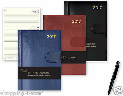 2017 A5 Organiser Week to View Diary Belt Tab Leather Effect -Address Book Pen