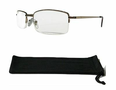 Extra Strong High Strength Gold Semi Rimmed Reading Glasses Spring Hinges 810