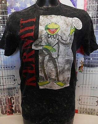 New Men's Disney The Muppets Kermit The Frog In A Sute Distressed Graphic Tshirt