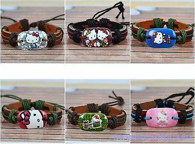 Hello Kitty Genuine Leather & Hemp Bracelet/ 6 Styles To Choose From