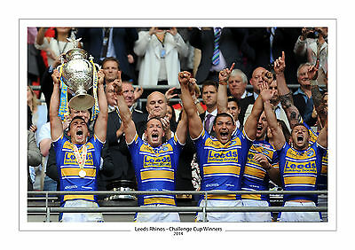 CHALLENGE CUP 2014 LEEDS RHINOS PHOTO PRINT A4 or 16 x 12 RUGBY WEMBLEY
