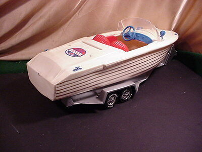'60s  IRWIN WHITE  BOAT FOR BARBIE with CUSTOM TRAILER  RARE SPEEDBOAT
